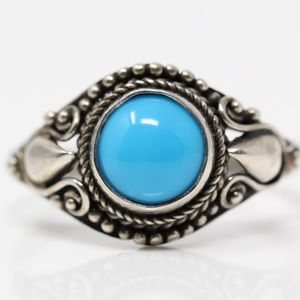 Jewelry - BALI 925 Sterling Turquoise Stud Round Ring 9